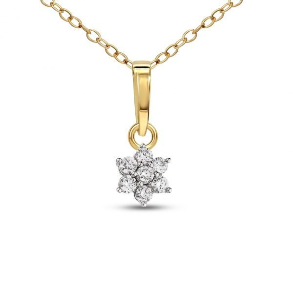 Sparkles 18k 750 Yellow Gold And Diamond Flower Designer